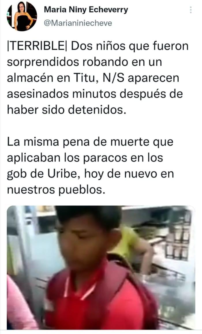 Matan niños frontera Colombia