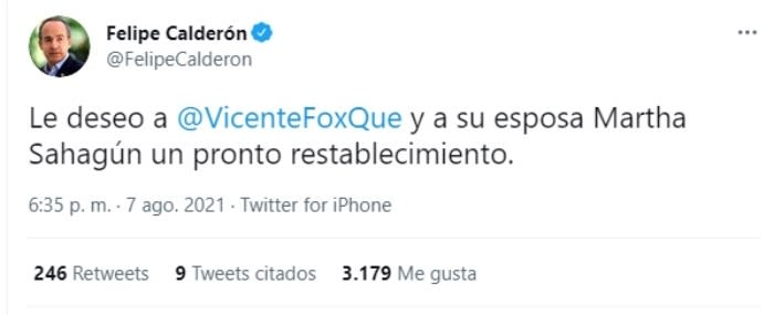 Vicente Fox hospitalizado coronavirus: Felipe Calderón reacciona en redes sociales