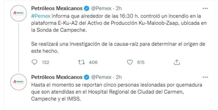 Explosión plataforma Pemex: Continúan las investigaciones