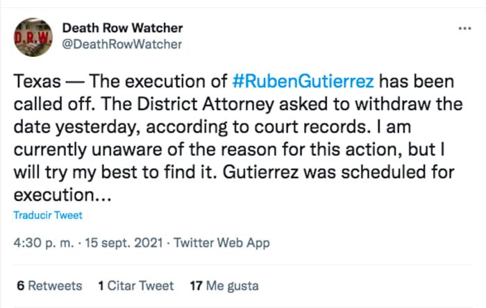 El detalle que 'salvó' a Rubén Gutiérrez de la inyección letal