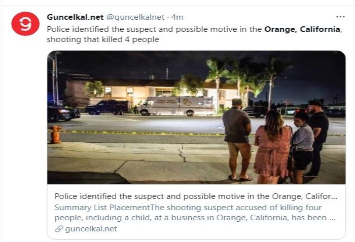 Confirman un detenido tras tiroteo en California que dejó 4 muertos Aminadab Gaxiola González