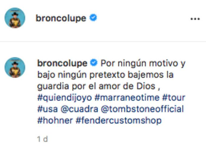 Mensaje vocalista Bronco tras muerte vocalista Yonics