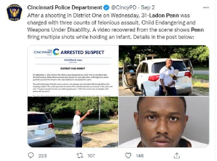 Hombre dispara contra una mujer mientras sostenía a un bebé