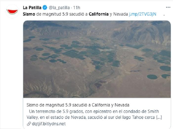 Sismo sacude frontera entre California y Nevada