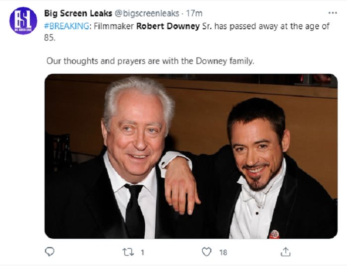Muere papá de Robert Downey Jr