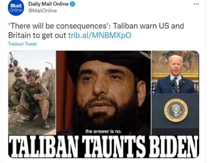 Talibanes amenazan a EEUU y Reino Unido