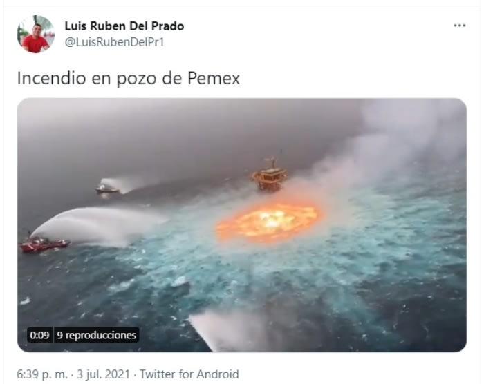 Explosión plataforma Pemex: Círculo de fuego en línea submarina de Pemex