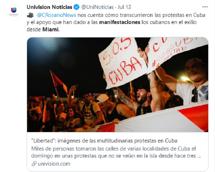 """""""I am here to support young Cubans on the island"""""""