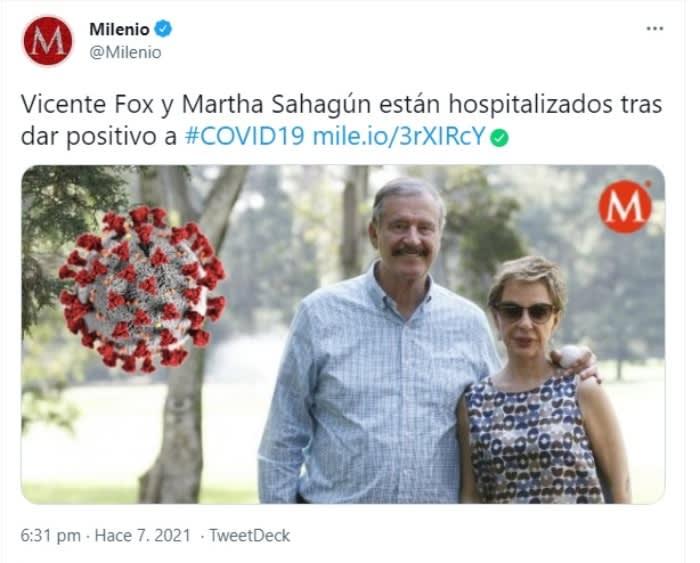 Vicente Fox hospitalizado coronavirus: Reacción de los internautas