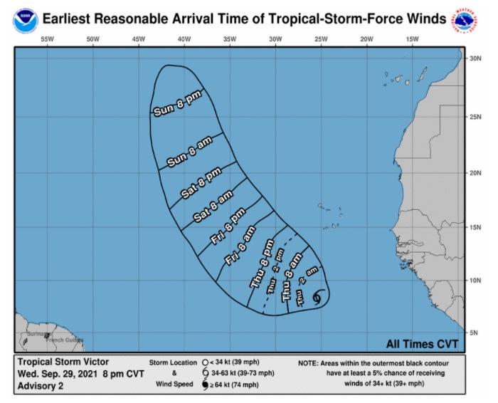 Depresión 20 en el Atlántico se convierte en la tormenta tropical Víctor