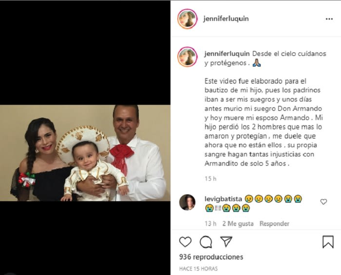 """""""Desde el cielo cuídanos y protégenos"""": Jennifer Luquín"""