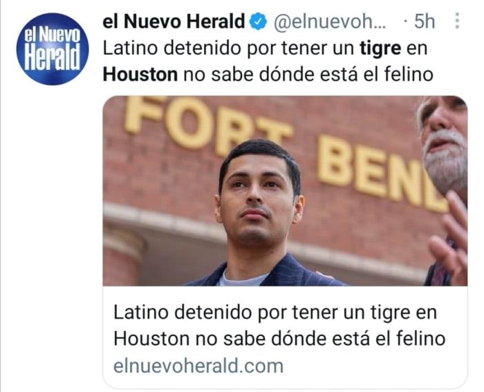 Latino detenido tigre Houston