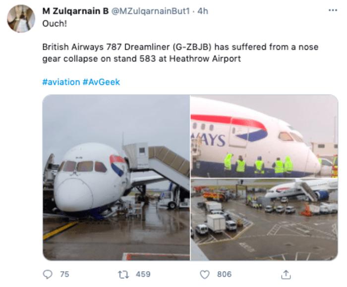 colpasa avión de British Airways