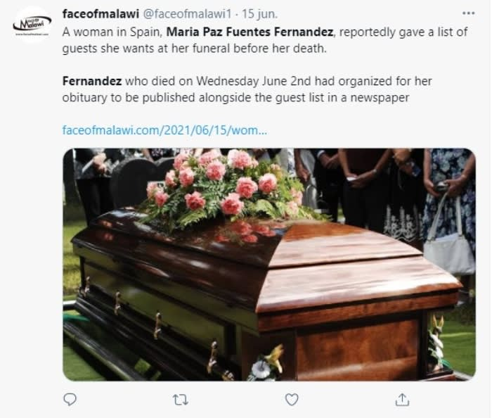María Paz Fuentes Fernández did not want her family at the funeral