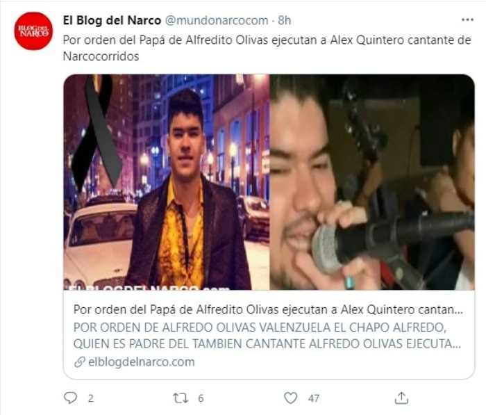 ¿Hay conexión entre las ejecuciones del hermano de Alfredo Olivas y el cantante Alex Quintero?