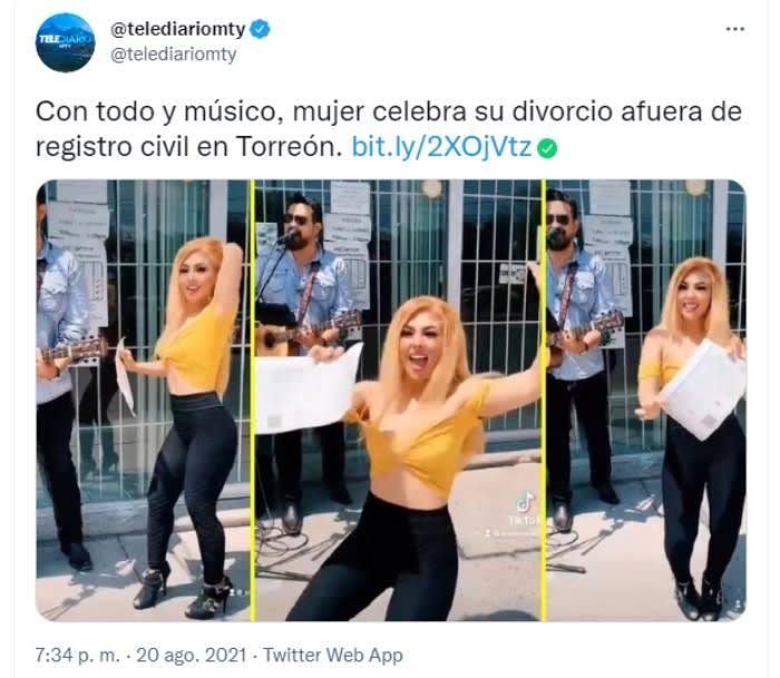 Woman celebrates divorce