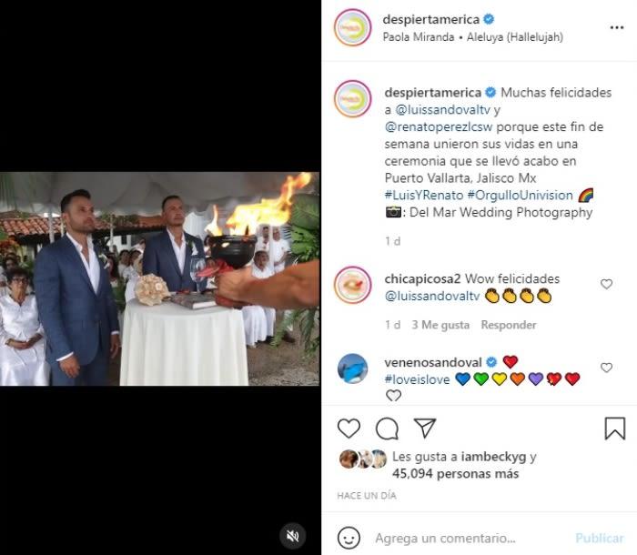 Luis Sandoval se casa con su novio