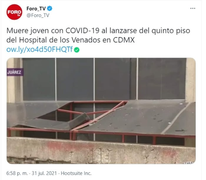 Hombre suicido plaza comercial: Sujeto con coronavirus se lanza desde el quinto piso de Hospital