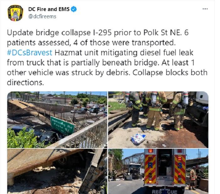 Puente peatonal colapsa