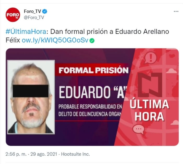 Judgment Eduardo Arellano Félix: What is the formal prison order?