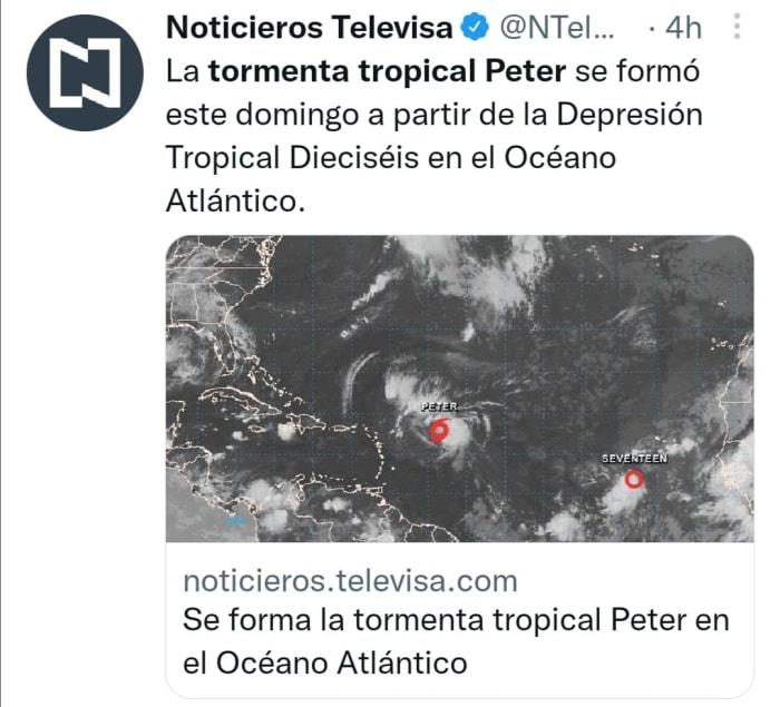 Tormenta Tropical Peter