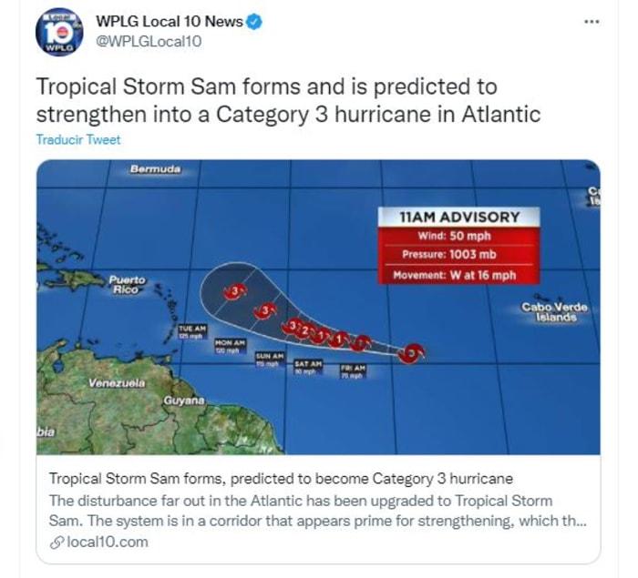 tormenta tropical Sam