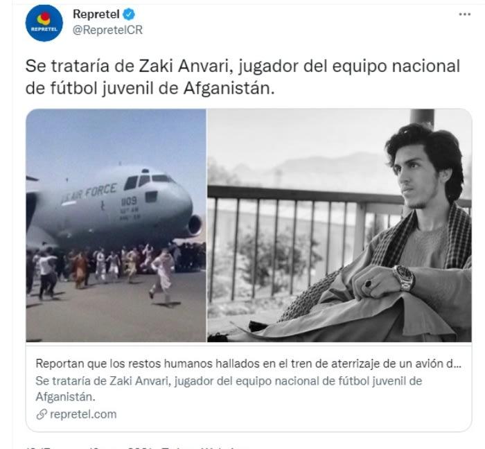 Muere futbolista avión Afganistán