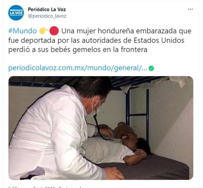 """Inmigrante embarazada mueren gemelos: """"Salimos de Honduras por obligación"""""""