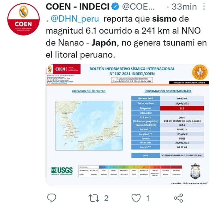 Sismo en Japón