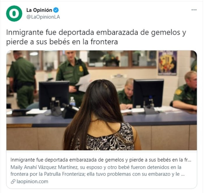 Inmigrante embarazada mueren gemelos