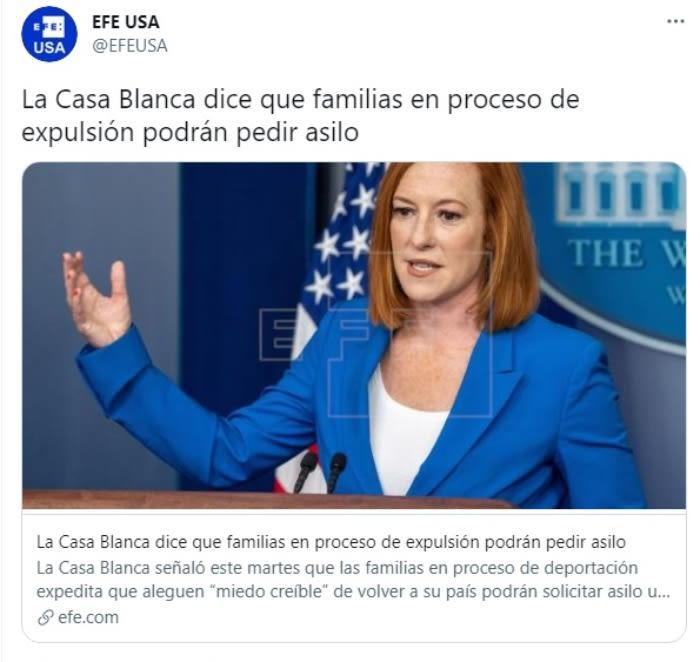 """Casa Blanca indocumentados asilo: """"Los individuos que están solicitando asilo, serán tratados como corresponde"""""""