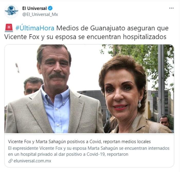 Vicente Fox hospitalized coronavirus