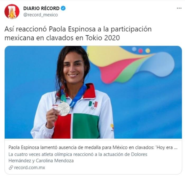 """Paola Espinosa criticada clavadistas: """"Quiérete un poco y bájate de la nube a dónde te subiste"""""""
