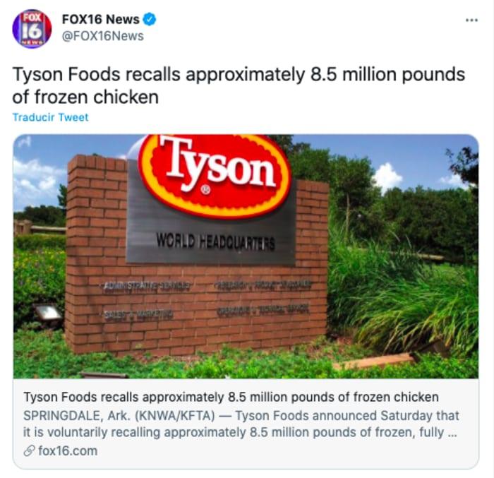 Tyson Foods orders recall