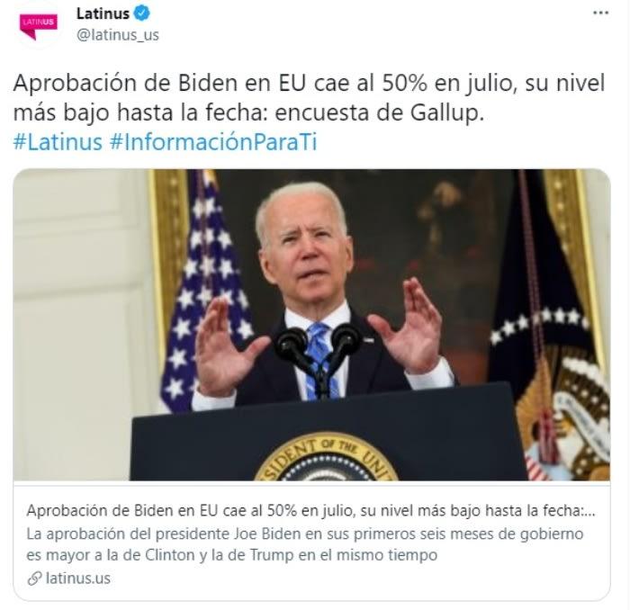 Aprobación Joe Biden cae