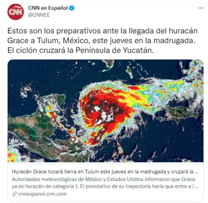 Huracán Grace fortalece México