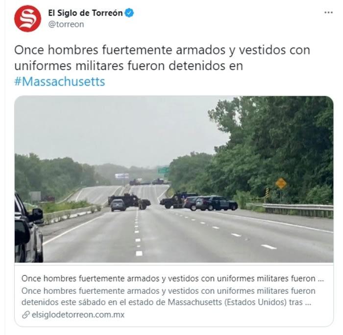 Detienen 11 hombres enfrentamiento Massachusetts: Los detenidos usaban vestimenta militar