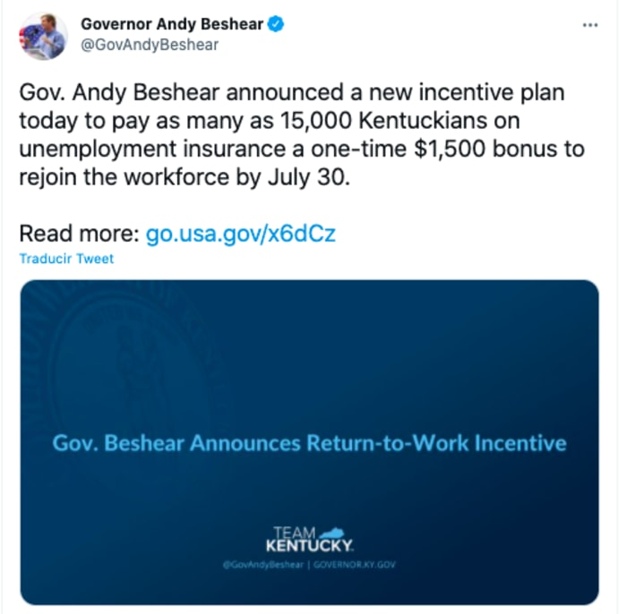 Kentucky ofrecerá $1500