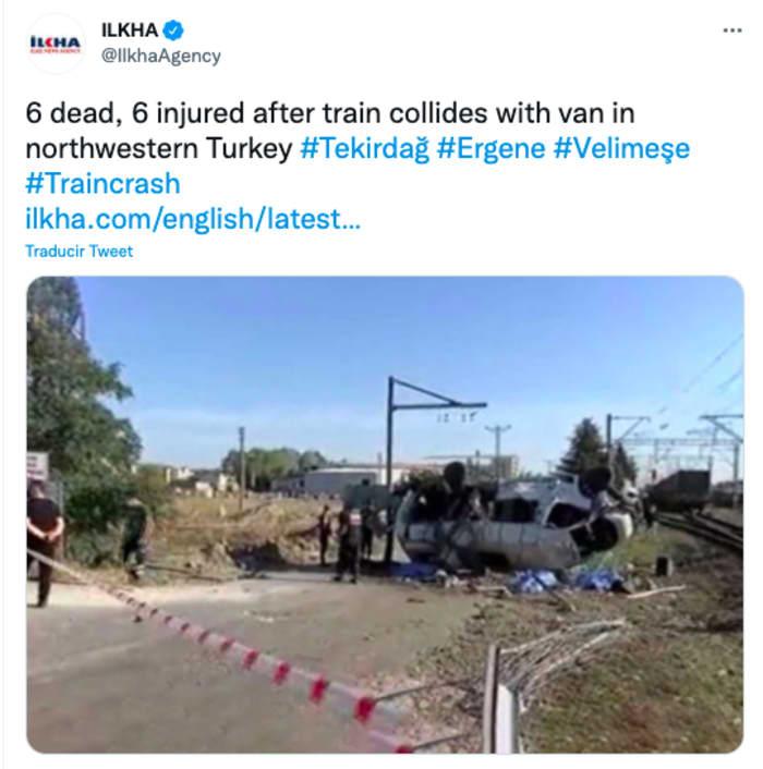 Choque entre tren y minibus deja varios muertos en Turquía