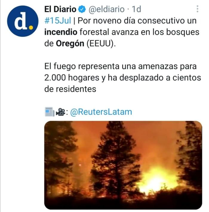 Incendio en Oregón