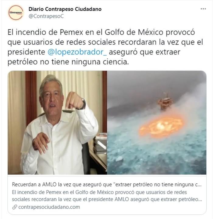 Incendio en línea submarina de Pemex provoca ojo de fuego