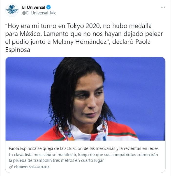 Paola Espinosa criticada clavadistas