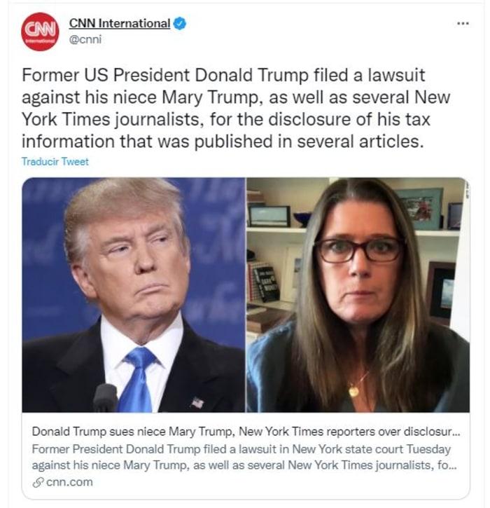 Trump demandó a su sobrina