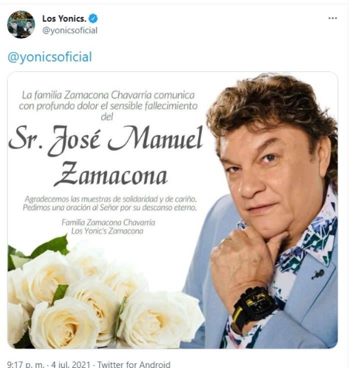 Lamentan muerte vocalista Yonic's. José Manuel Zamacona