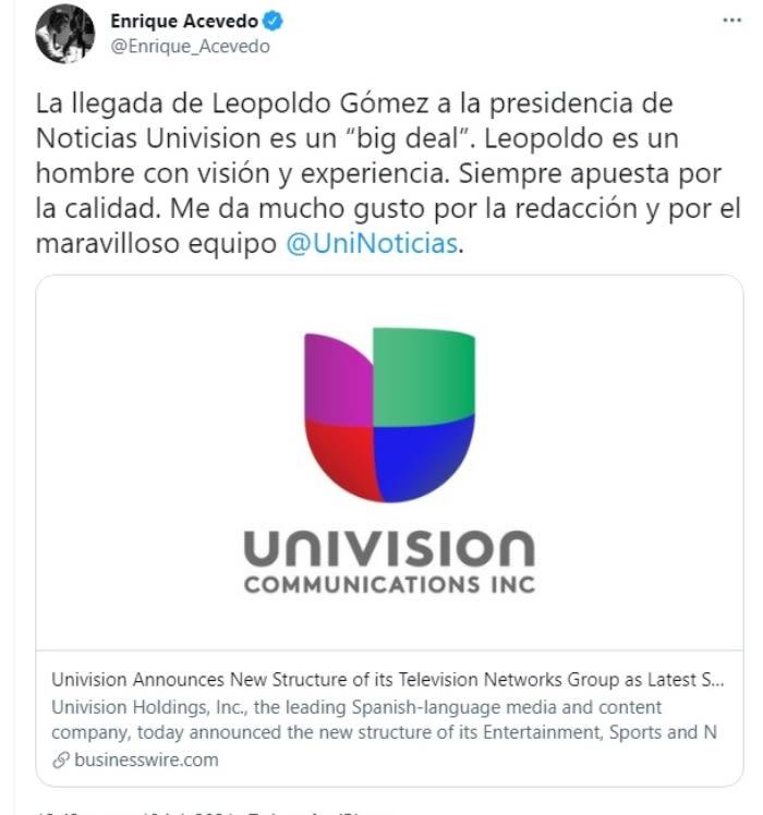 Jorge Ramos cambios Univisión: Enrique Acevedo se manifiesta