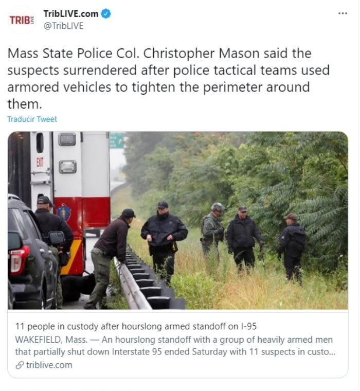 """Detienen 11 hombres enfrentamiento Massachusetts: Pertenecen a un grupo """"que no reconoce nuestras leyes"""""""