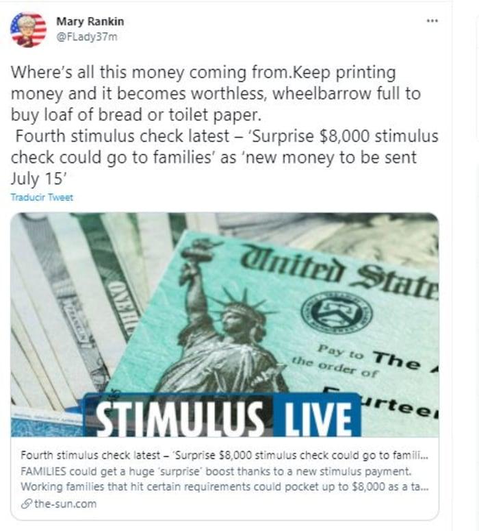 cheque de estímulo 'sorpresa'