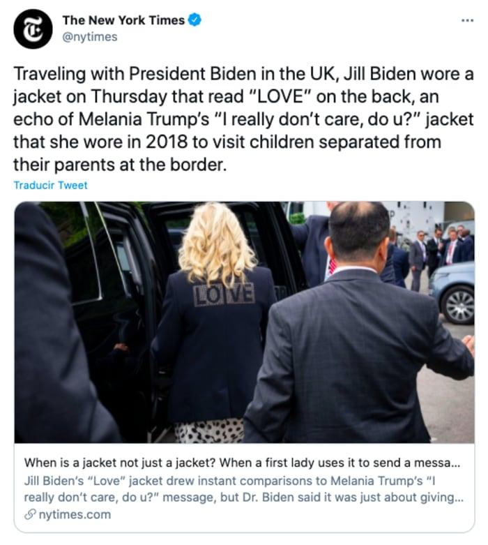 ¿Jill Biden da lección a Melania?