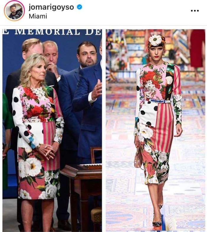 El vestido que causó sensación de Jill Biden y el que días después usaría Jennifer López