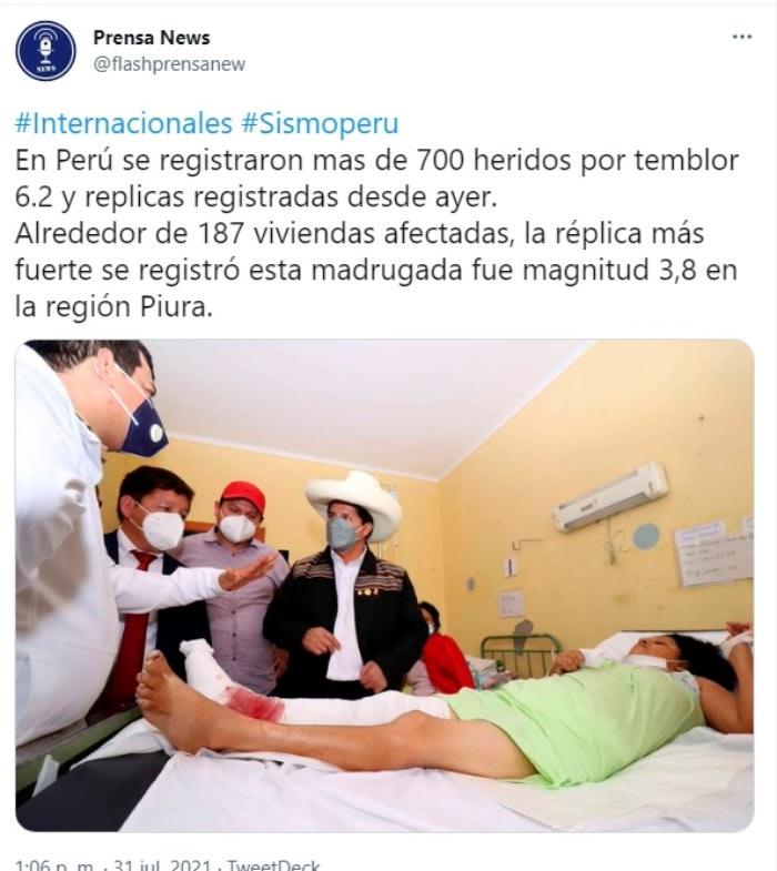 Sismo réplica Perú heridos: Hubo muchos daños